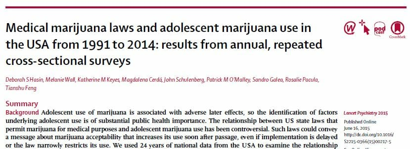 Adolescent Cannabis Use And Medical Marijuana Laws: 1991 to 2014