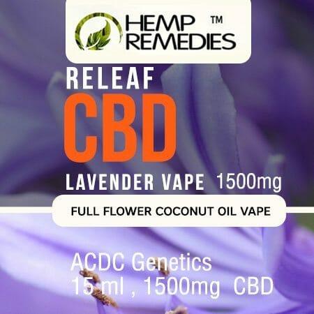 Hemp Remedies Lavender CBD Vape Oil 1500mg