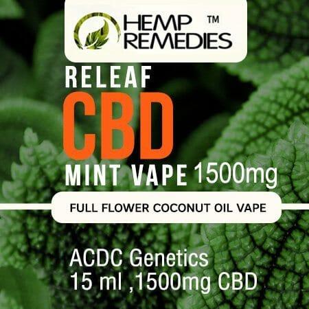 Hemp Remedies Mint CBD Vape Oil 1500mg