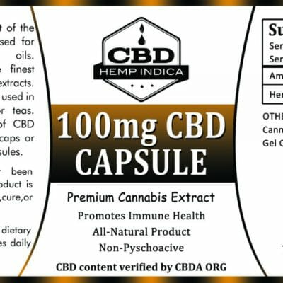 CBD Hemp Indica 100mg gel caps